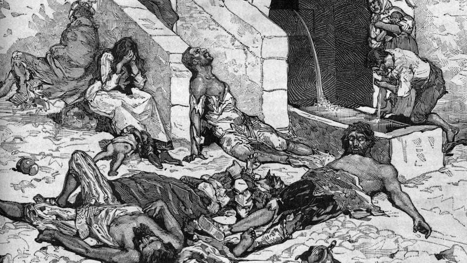 Une gravure antique montrant les corps de personnes victimes de la peste antonine.