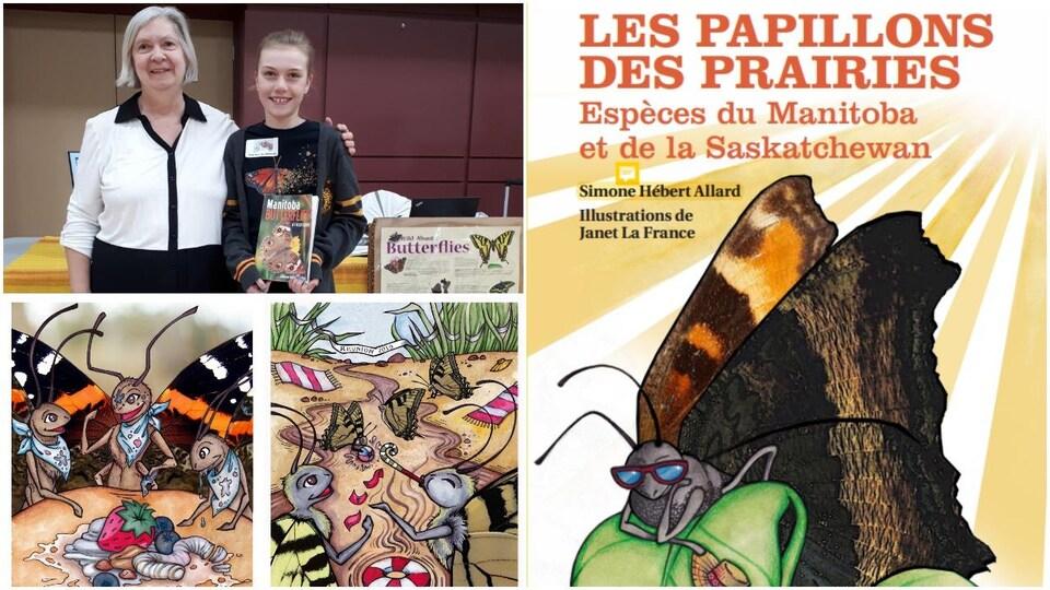 Un collage de photos d'un livre de papillons