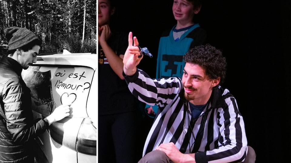 Montage de photos de Benjamin Doudard : traçant un coeur avec une question sur une voiture enneigée, et avec un sifflet et des jeunes pendant une activité d'improvisation.