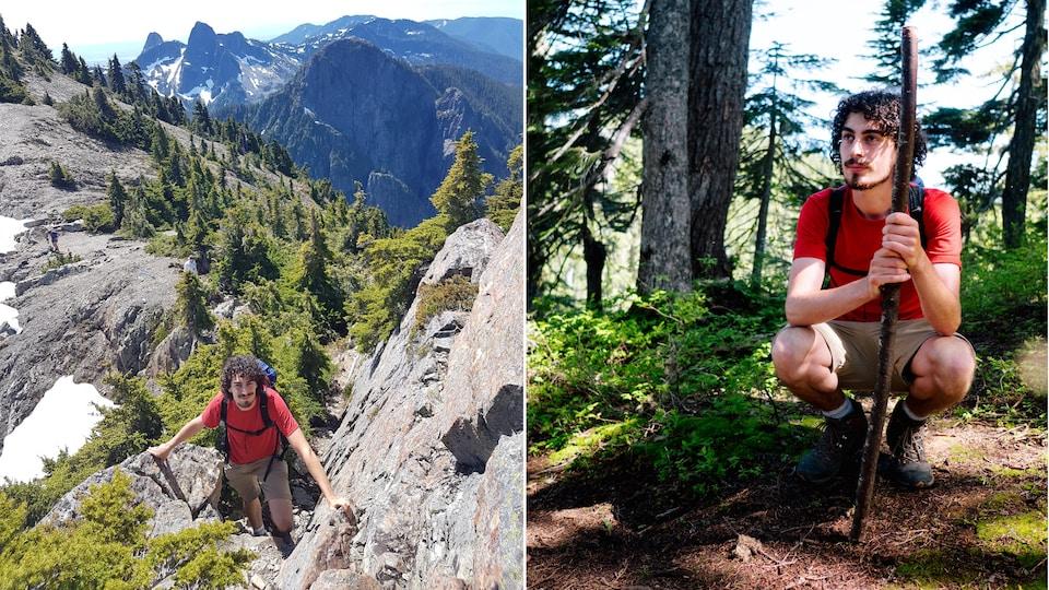 Montage photos de Benjamin Doudard en train d'escalader une paroi rocheuse et dans un sentier forestier en montagne.
