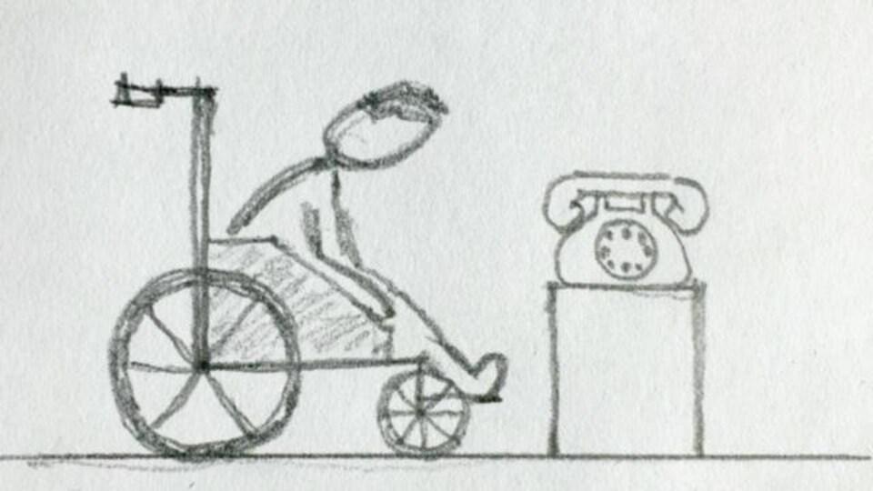 Dessin au crayon plomb d'un homme en chaise roulante à côté d'un téléphone.