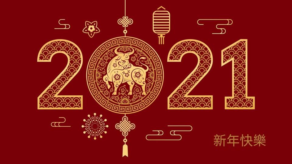 Une infographie illustrant l'année 2021 comme l'année du bœuf.
