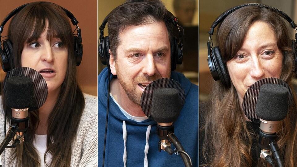 Une femme, un homme et une autre femme parlent dans un micro.