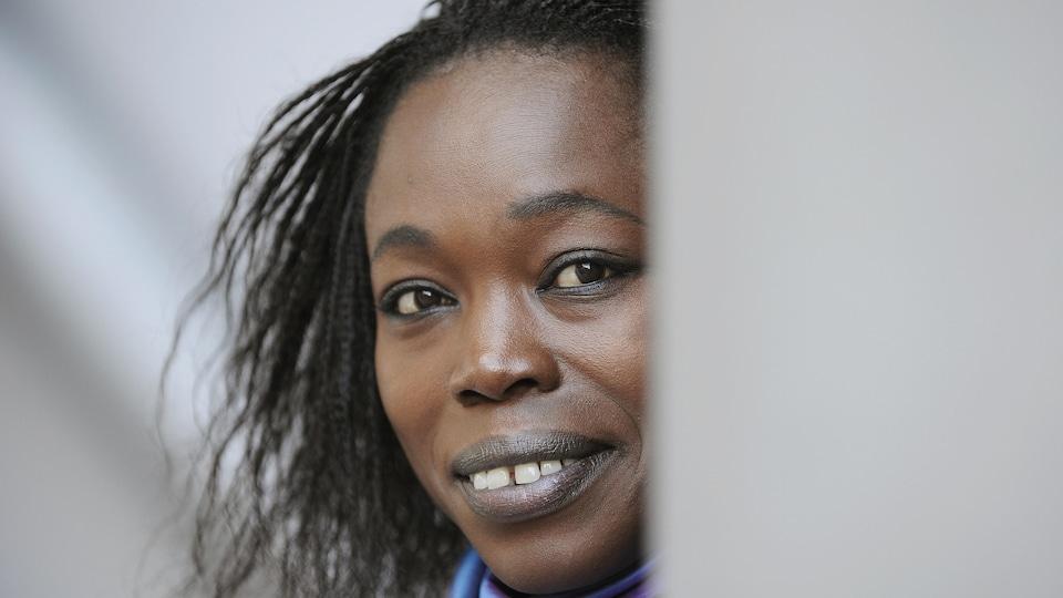 La femme de lettres franco-sénégalaise Fatou Diome, ici en octobre 2008 à Francfort, en Allemagne