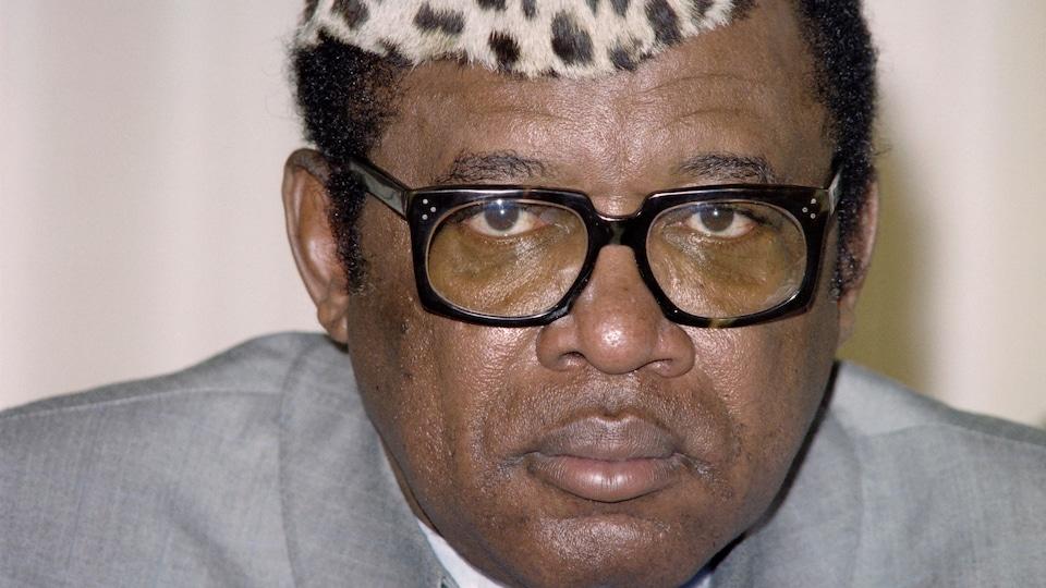 La dictateur Mobutu Sese Seko en janvier 1987, à N'Djamena, au Tchad