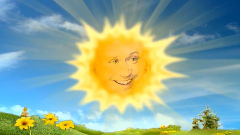 Le bébé-soleil de l'émission pour enfants <i>Teletubbies</i>, mais avec le visage d'Olivier Morin.