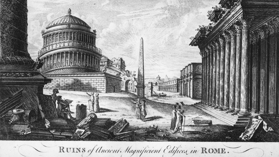 Une peinture datant de 1850 montrant la ville de Rome en ruines à l'époque de l'Antiquité.