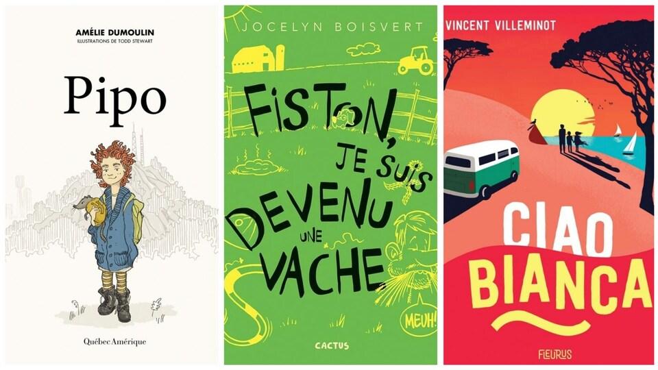 Trois couvertures de livres jeunesse.
