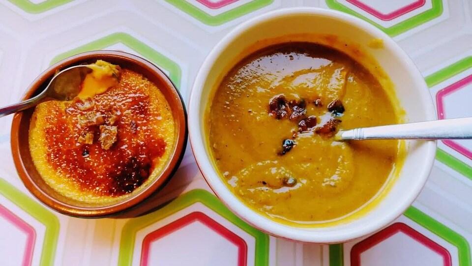 Potage et crème brûlée à la courge et sirop d'érable infusé de bacon