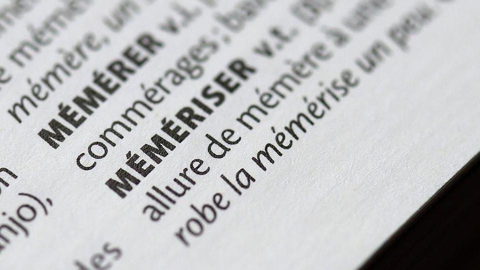 Le mot « mémériser » inscrit dans un dictionnaire.