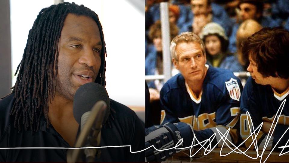 À gauche, l'ancien hockeyeur Georges Laraque. À droite, l'acteur américain Paul Newman dans le rôle de Reggie Dunlop, personnage du film culte Slapshot