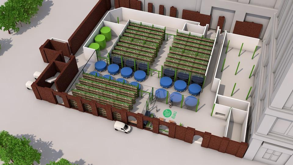 Maquette illustrant une ferme aquaponique de l'entreprise Écosystèmes alimentaires urbains
