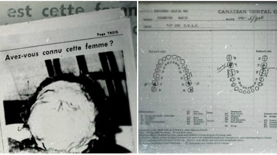 La photo de la noyée de la rivière des Prairies publiée dans «Allô Police», en page 3 de l'édition du 25 octobre 1953 ainsi que la fiche dentaire de Marie-Paule Rochette tirée de son dossier militaire.