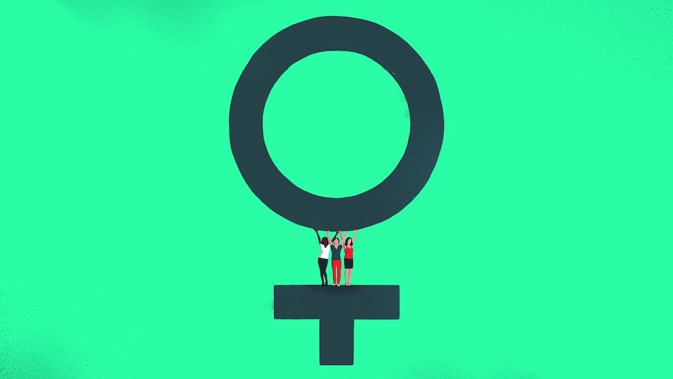 Des femmes soulevant un cercle formant le symbole du sexe féminin.