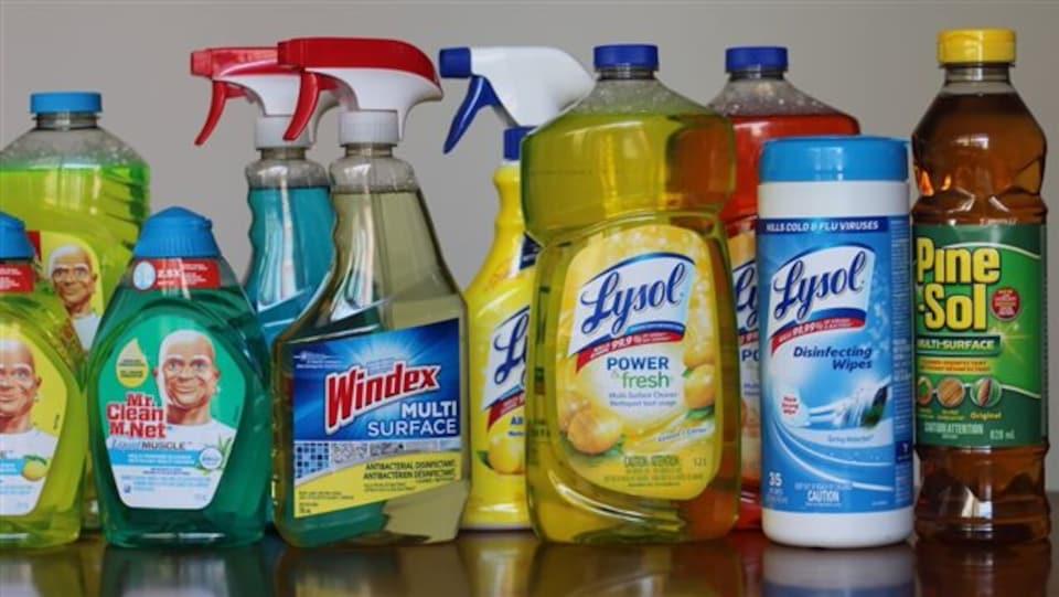 Une panoplie de produits nettoyants domestiques fréquemment utilisés.