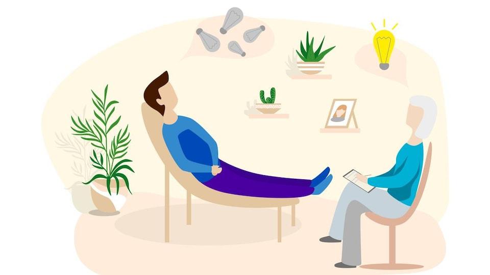 Dessin d'un homme allongé sur un fauteuil en face d'une femme assise sur une chaise, qui prend des notes, dans une pièce décorée avec des plantes et  un cadre photo.