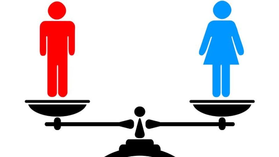 Dessin d'un homme est d'une femme en équilibre sur une balance