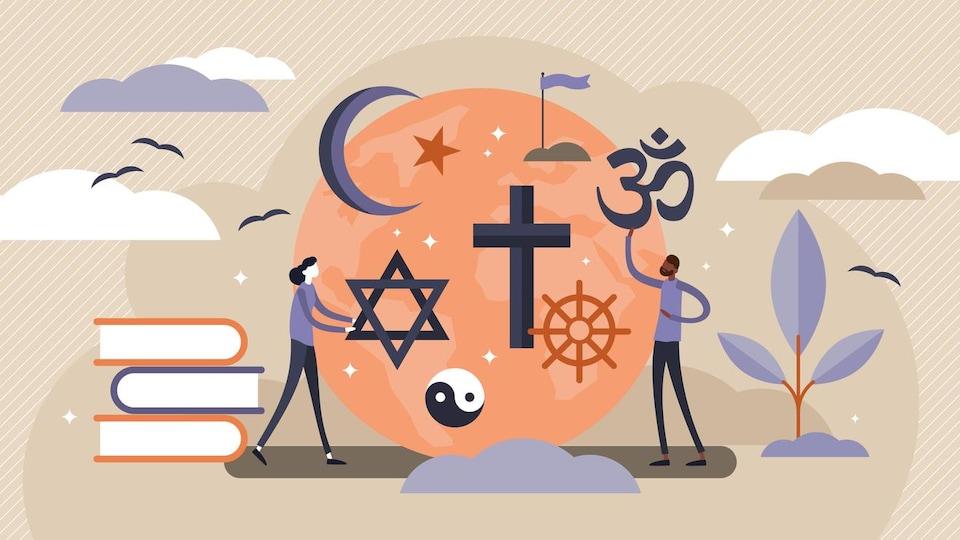 Illustration des signes de plusieurs religions et de deux silhouettes.