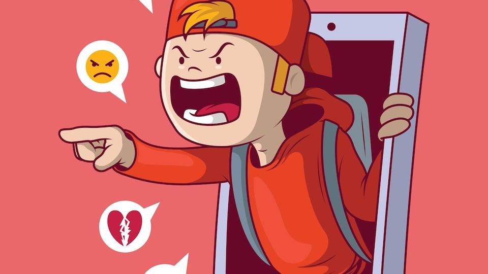 Une illustration d'un garçon qui sort d'un téléphone en criant.