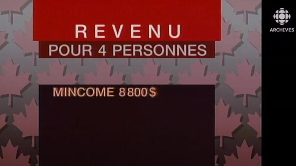 Tableau montrant le revenu minimum garanti par le programme Mincome au Manitoba dans les années 1970.