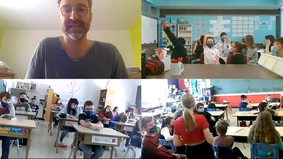 Un auteur et des élèves en visioconférence.