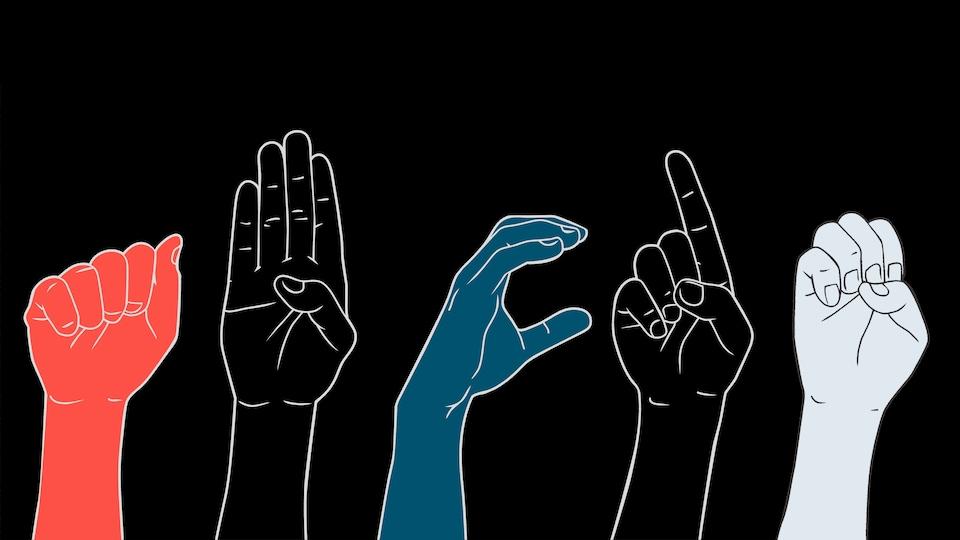 Les lettres A,B,C,D et E, en langue des signes.