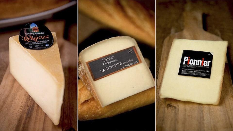 Trois fromages québécois : la religieuse, la tomette et le pionnier.