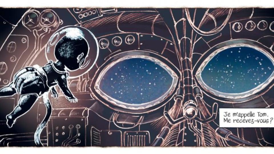 Un bébé astronaute flotte dans un vaisseau spatial dans la bande dessinée Le petit astronaute, de Jean-Paul Eid.