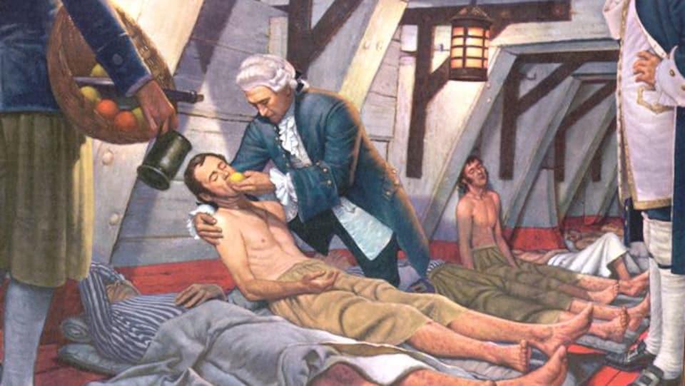 Peinture montrant un homme donnant un citron à un invalide couché sur le sol, dans la cale d'un bateau.