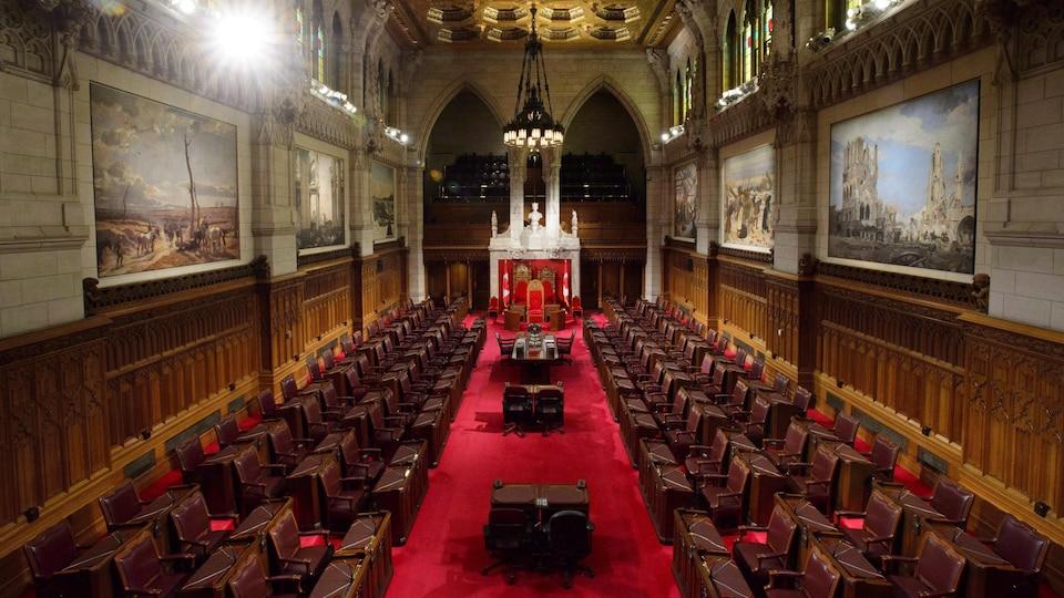 Vue intérieure de la Chambre haute du Parlement.
