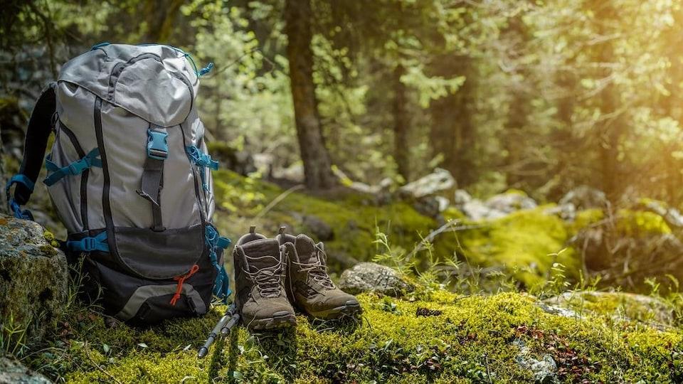 Des bottines, des bâtons et un sac à dos de randonneur dans une clairière en pleine forêt.