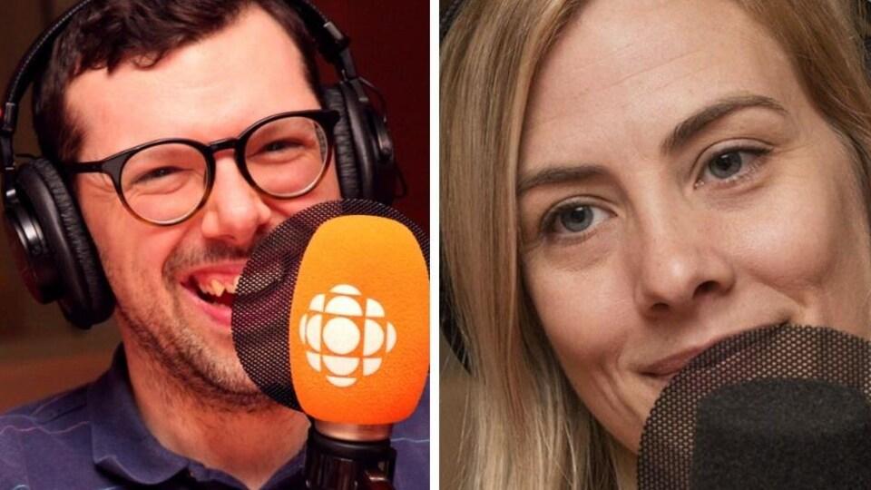 Montage photo montrant un homme souriant à pleine dent devant un micro orange d'ICI Première et une femme blonde devant un micro noir.