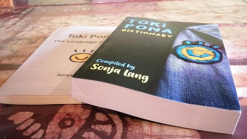 Les deux livres de Sonja Lang empilés sur une table.