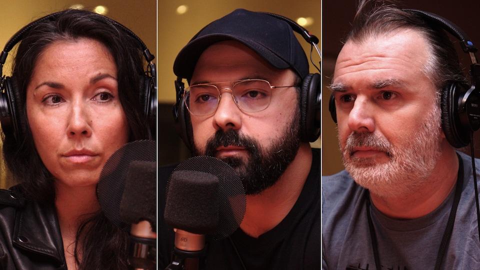 Montage photo de portraits en gros plan des trois invités, Sophie Bienvenu, Mani Soleymanlou et Patrick Senécal.