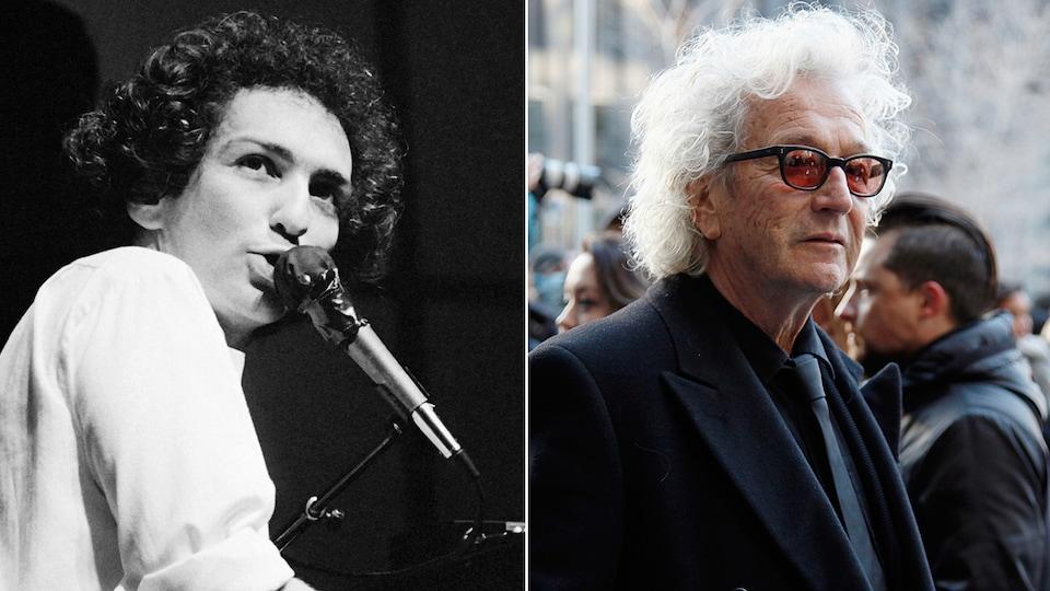 Photo en deux partie montrant un plan poitrine de Michel Berger et de Luc Plamondon