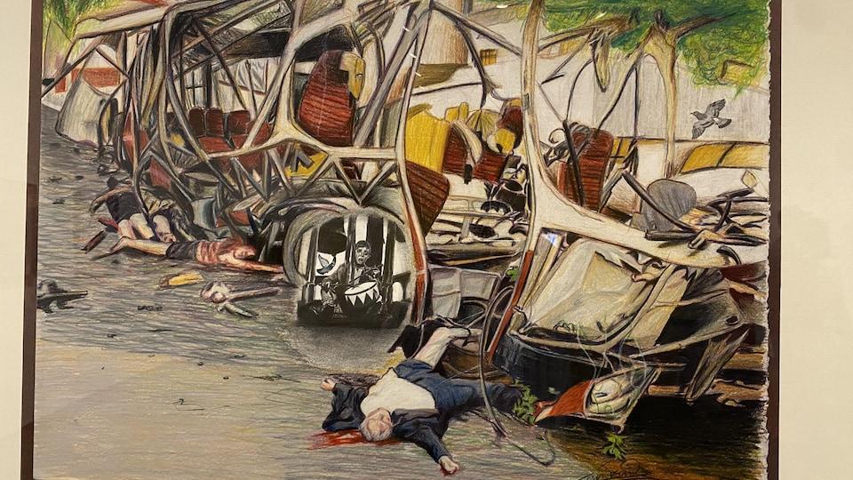 Une peinture représentant une scène d'explosion en Israël.