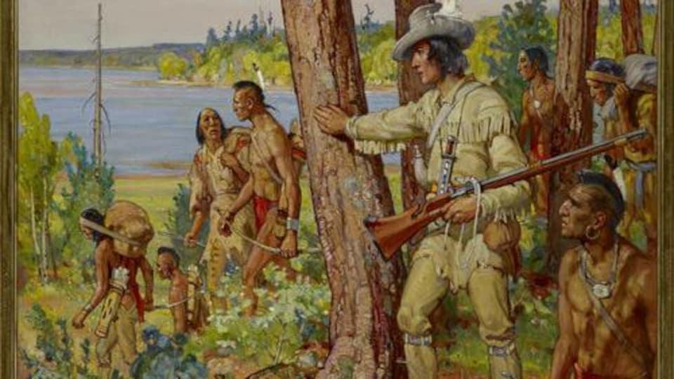Tableau du peintre canadien Frederick Sproston Challener, en 1956. Il représente l'explorateur Étienne Brûlé entourés d'Autochtones torses nus.