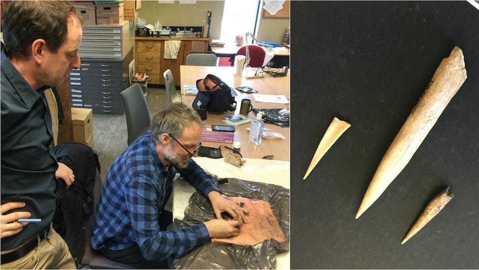 Une technique de tatouage autochtone sur de la peau de porc