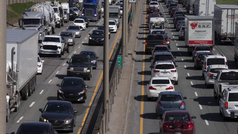 Une congestion routière sur le réseau montréalais.