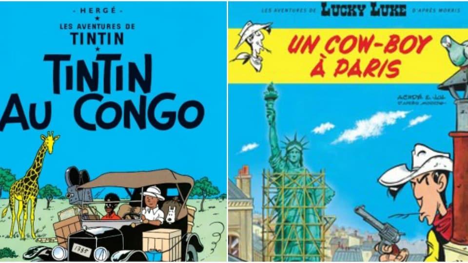 Les pages couvertures des deux bandes dessinées.