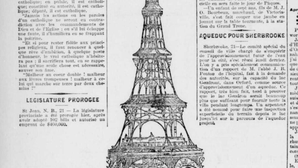Un dessin d'une tour imprimé sur du papier journal entouré de textes.