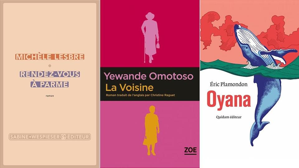 Trois couvertures de livre.