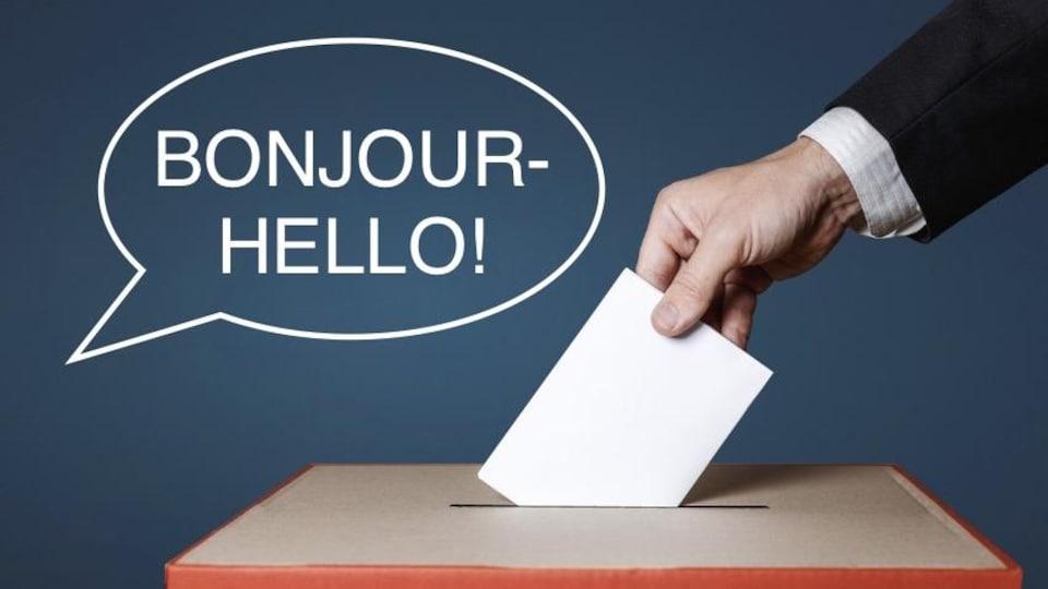 Une main qui dépose un bulletin de vote dans une boîte.