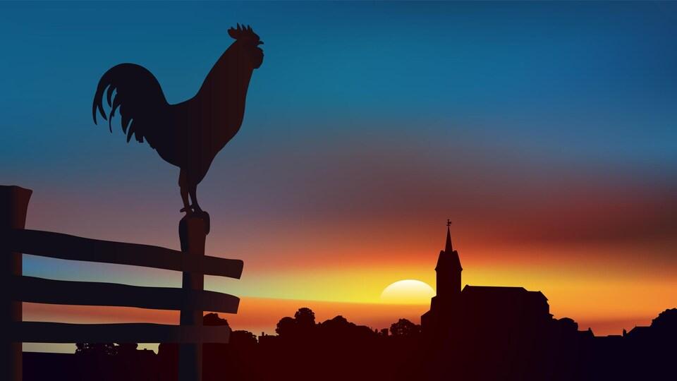 Paysage de campagne au lever du jour avec, au premier plan un coq perché sur une barrière et à l'horizon un village traditionnel de France.