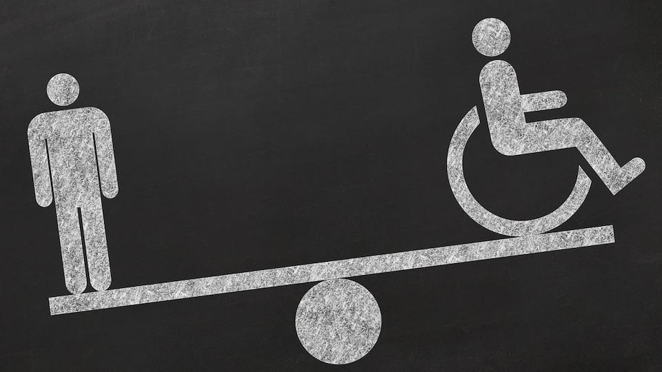 Une balance avec une personne et un handicapé