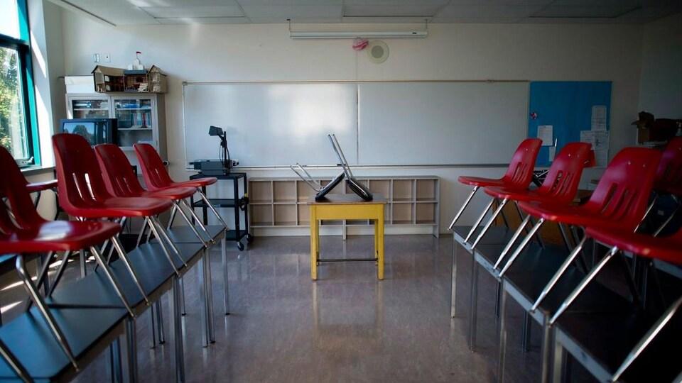 Une classe vide, les chaises levées sur les bureaux.