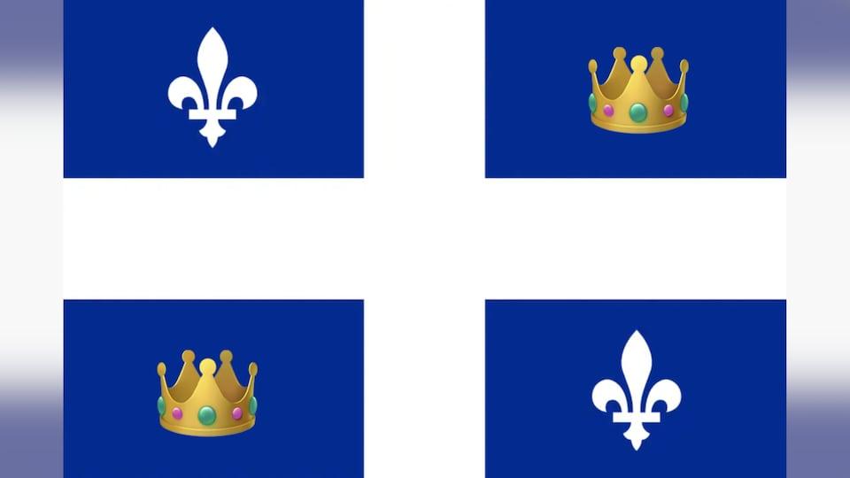 Drapeau du Québec avec deux couronnes qui remplacent deux fleurs de lys.