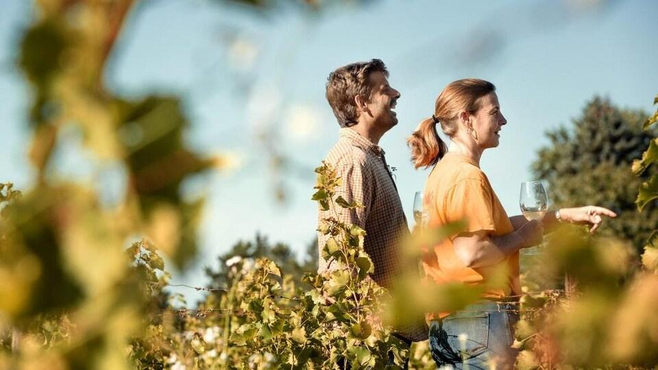 Deux personnes marchent dans un vignoble, une coupe à la main.