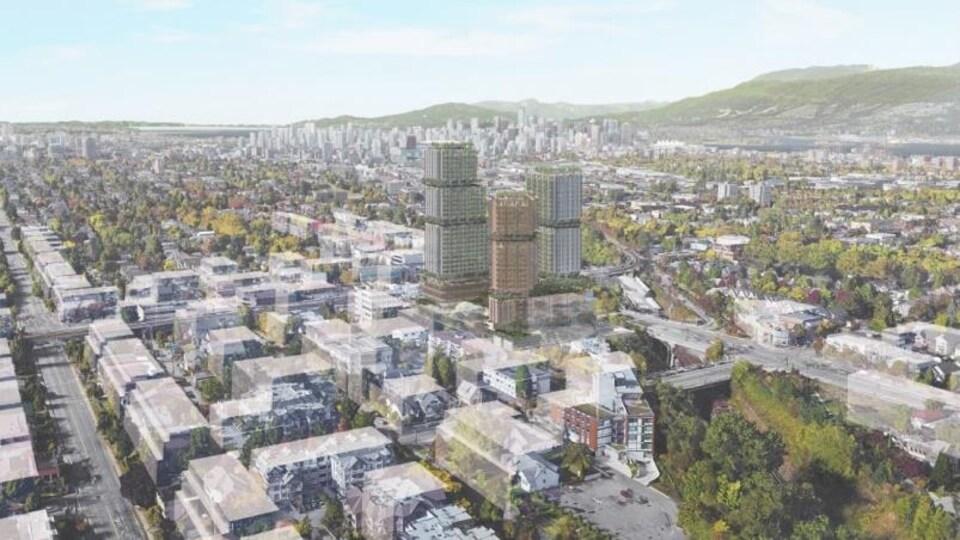 Un plan des trois tours est présenté avec le centre-ville de Vancouver à l'arrière.