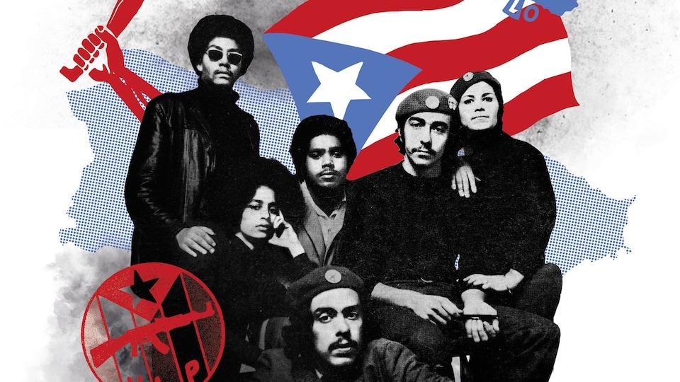 La pochette d'un livre montrant un montage avec de jeunes révolutionnaires des années 70 et un drapeau porto ricain,